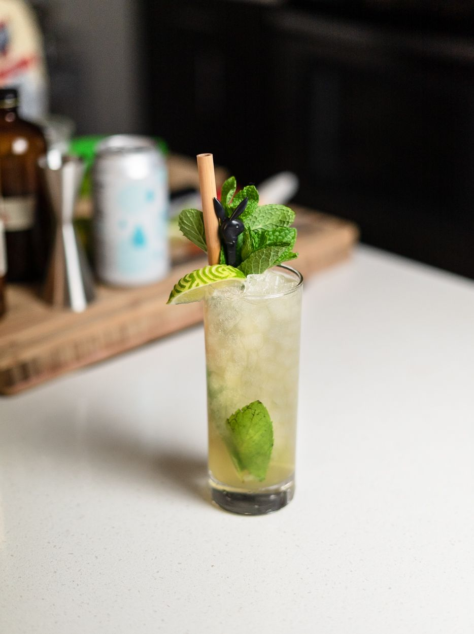 cocktail in a highball with mint garnish and lime