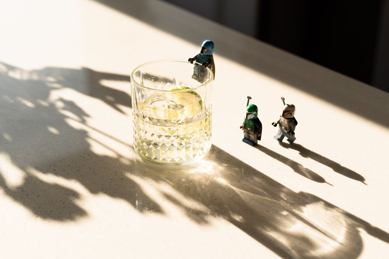 tequila old fashioned with lego mandalorian minifigures
