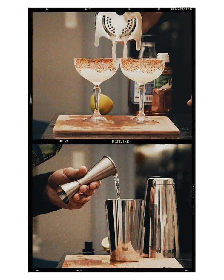 sequence of making a mezcal cocktail