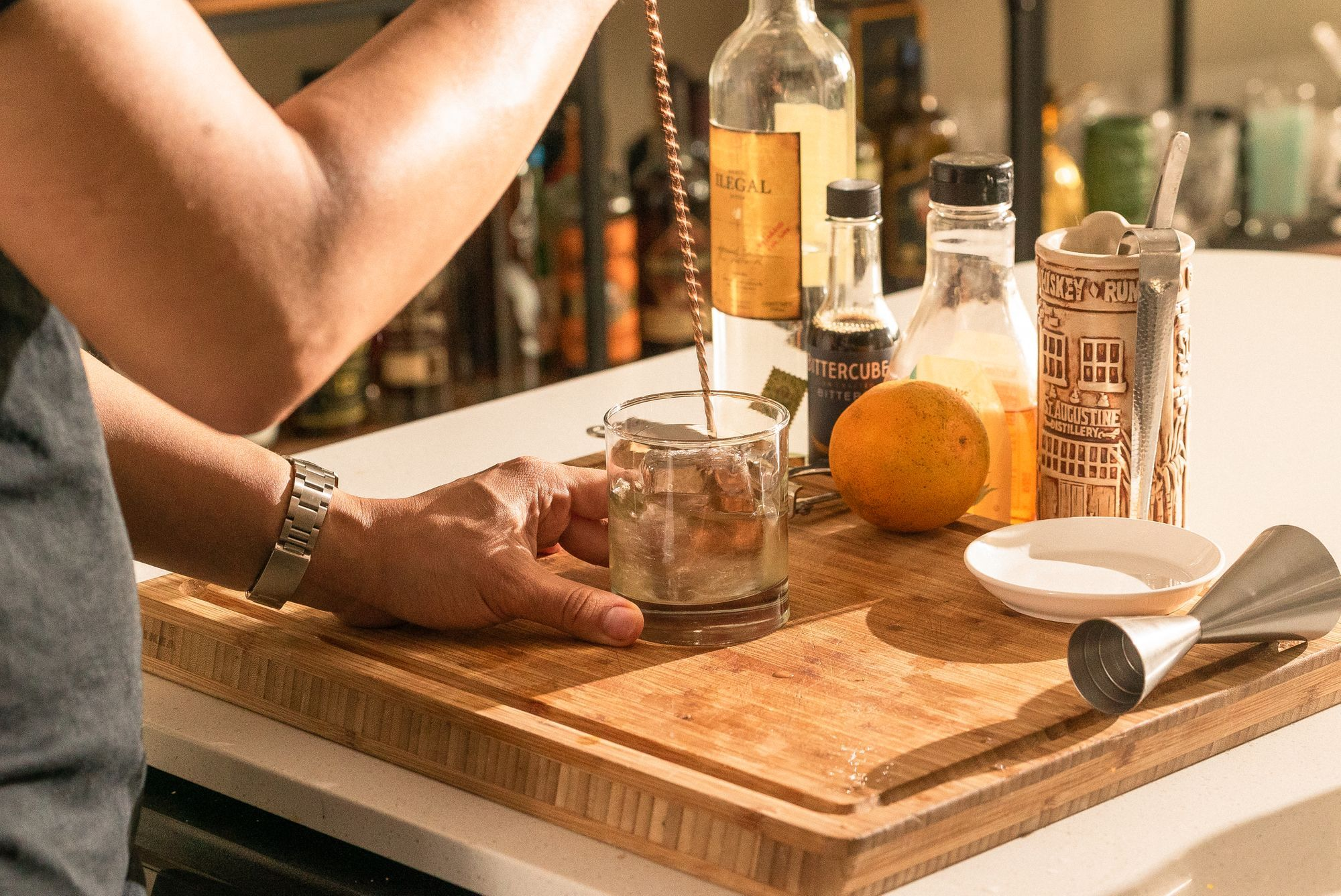 mixing cocktail with a barspoon