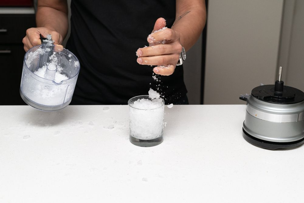 making crushed ice with a food processor